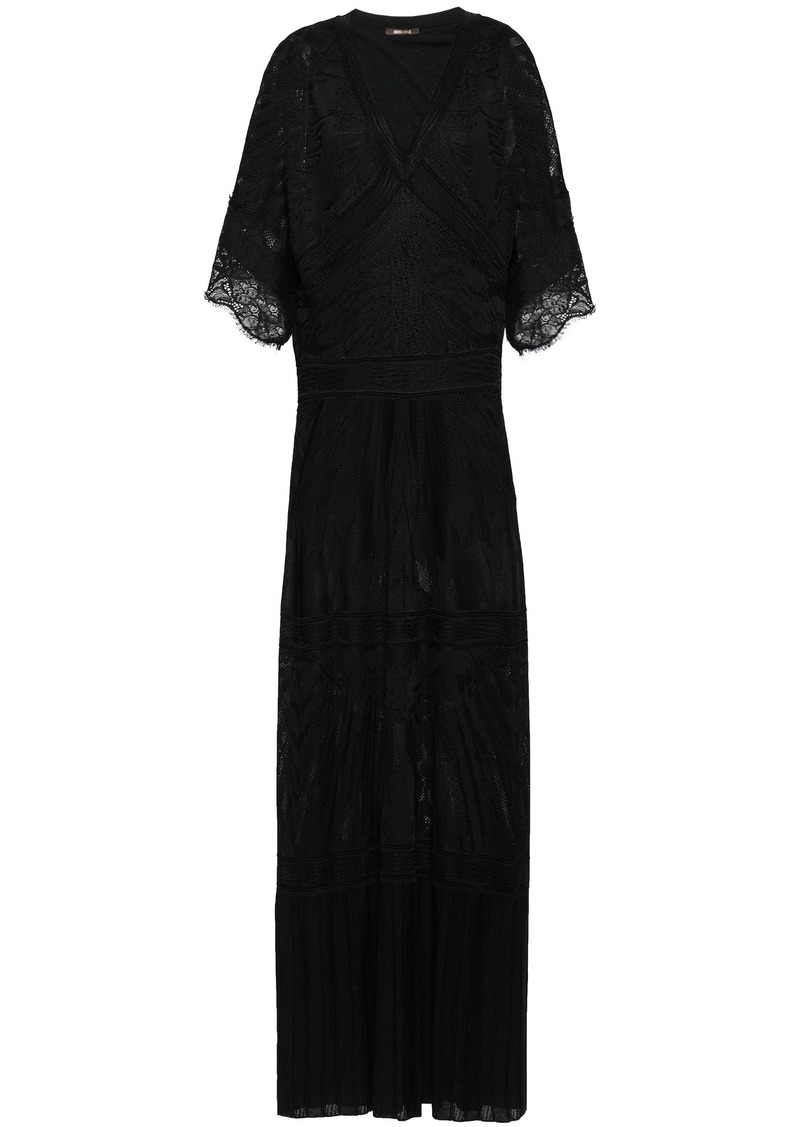 Roberto Cavalli Woman Lace-trimmed Pointelle-knit Maxi Dress Black