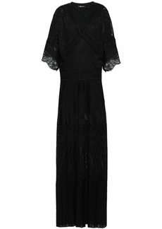 Roberto Cavalli Woman Lace-trimmed Pointelle-knit Maxi Dress Black