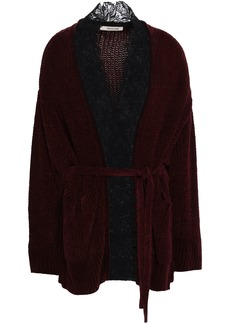 Roberto Cavalli Woman Lace-trimmed Ribbed Silk-chenille Cardigan Brown