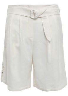 Roberto Cavalli Woman Lace-up Belted Gauze Shorts Ivory