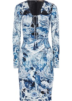 Roberto Cavalli Woman Lace-up Printed Crepe Dress Blue