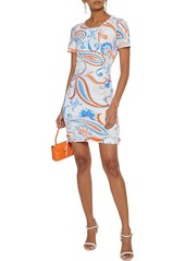 Roberto Cavalli Woman Lace-up Printed Stretch-jersey Mini Dress Ivory