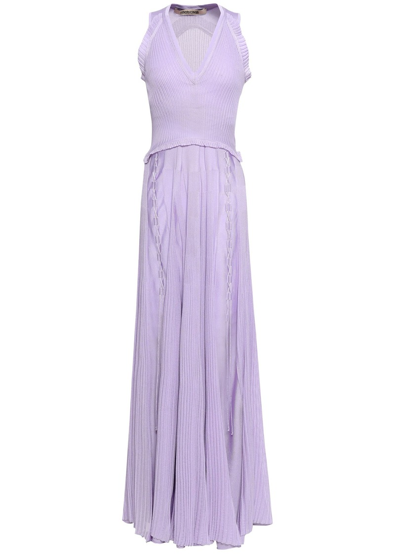 Roberto Cavalli Woman Lace-up Ribbed-knit Maxi Dress Lilac