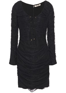 Roberto Cavalli Woman Lace-up Ruched Lace Mini Dress Black
