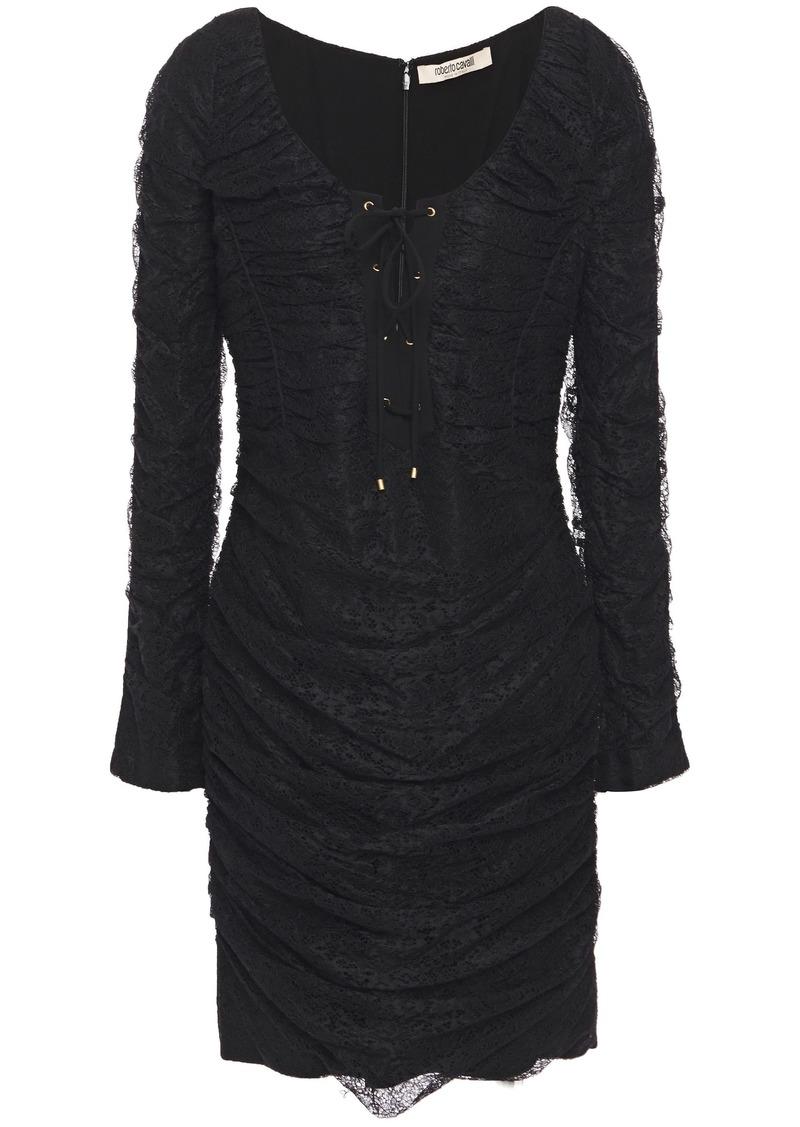 Roberto Cavalli Woman Lace-up Ruched Lace Mini Dress Black