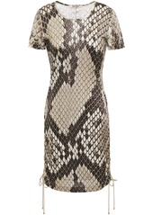 Roberto Cavalli Woman Lace-up Snake-print Satin-jersey Mini Dress Animal Print