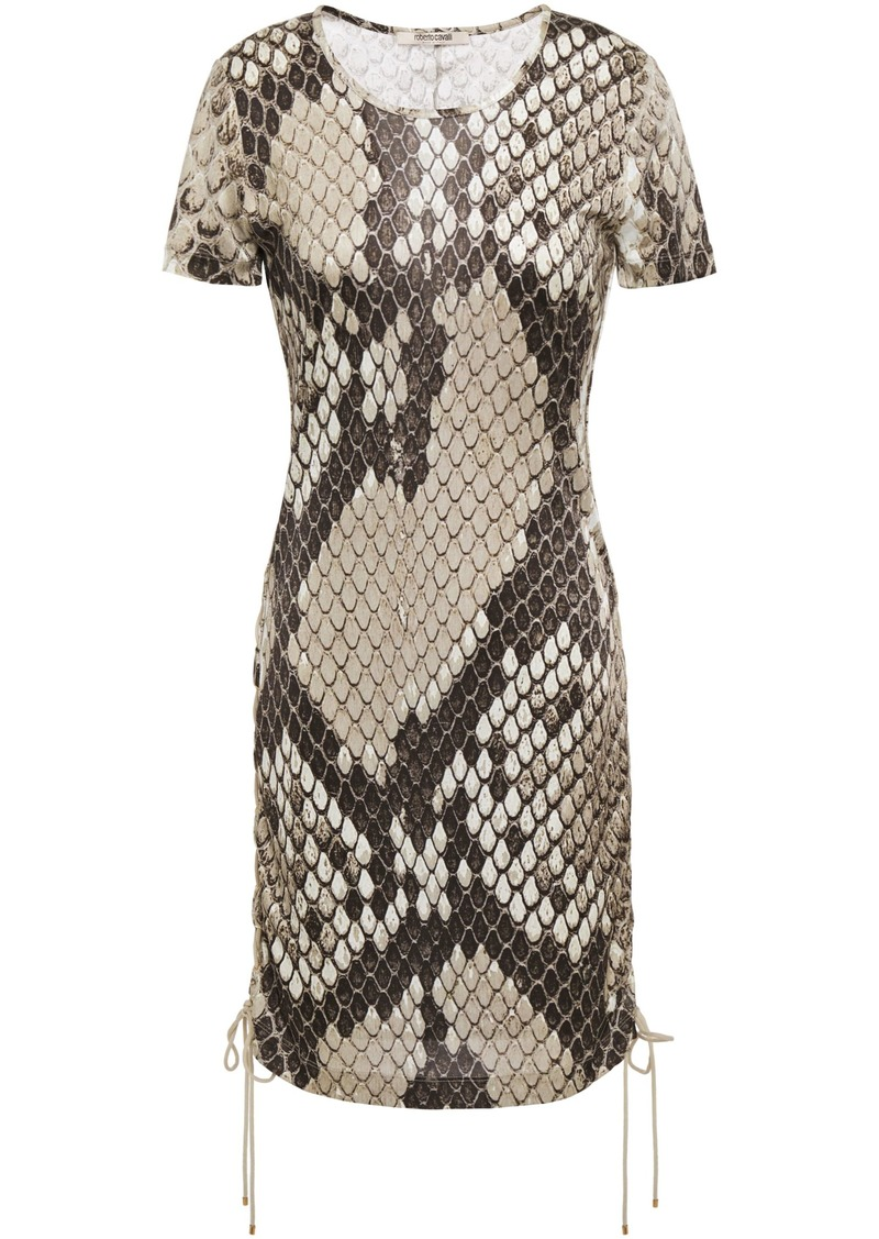 Roberto Cavalli Woman Lace-up Snake-print Satin-jersey Mini Dress Animal Print