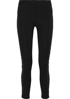 Roberto Cavalli Woman Lace-up Stretch-knit Leggings Black