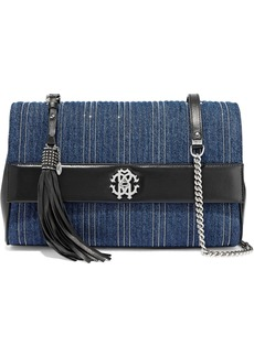 Roberto Cavalli Woman Large Leather-paneled Bead-embellished Quilted Denim Shoulder Bag Mid Denim