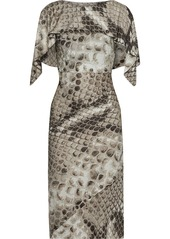 Roberto Cavalli Woman Layered Button-detailed Snake-print Satin-jersey Dress Animal Print