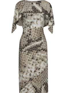 Roberto Cavalli Woman Layered Button-detailed Snake-print Satin-jersey Dress Animal Print