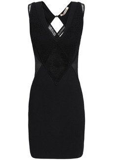 Roberto Cavalli Woman Layered Crochet And Paneled Stretch-knit Mini Dress Black