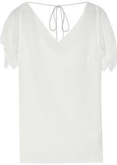Roberto Cavalli Woman Layered Draped Silk-chiffon Top Off-white