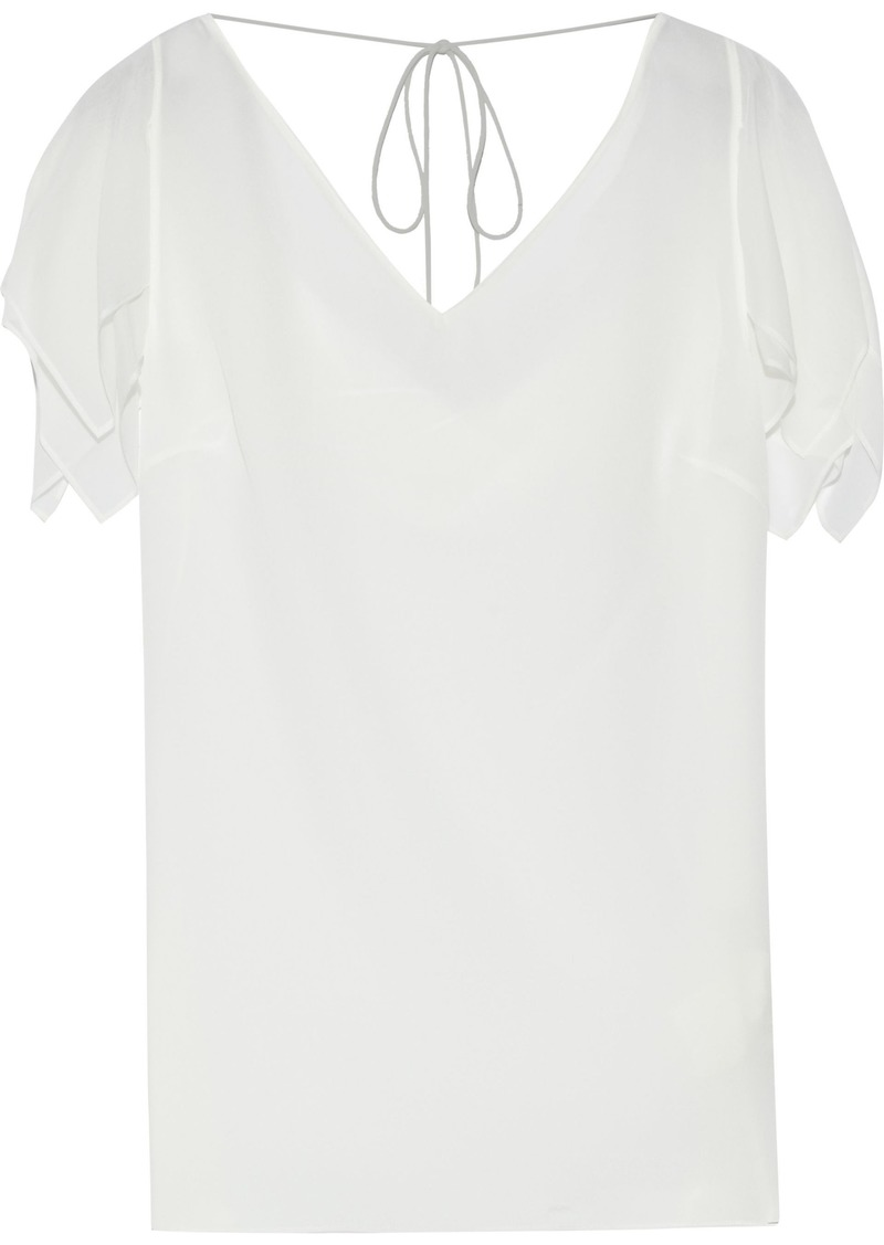 Roberto Cavalli Woman Layered Draped Silk-chiffon Top Off-white