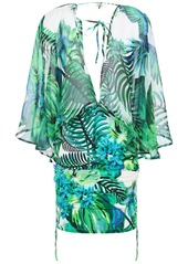 Roberto Cavalli Woman Layered Printed Cotton And Silk-blend Voile And Jersey Mini Dress Bright Green