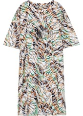 Roberto Cavalli Woman Layered Printed Mesh And Cotton-jersey Mini Dress Animal Print