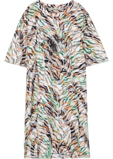 Roberto Cavalli Woman Layered Printed Mesh And Cotton-jersey Mini Dress Animal Print