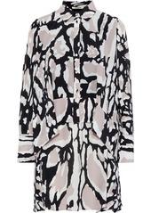 Roberto Cavalli Woman Layered Printed Silk Crepe De Chine Mini Shirt Dress Animal Print
