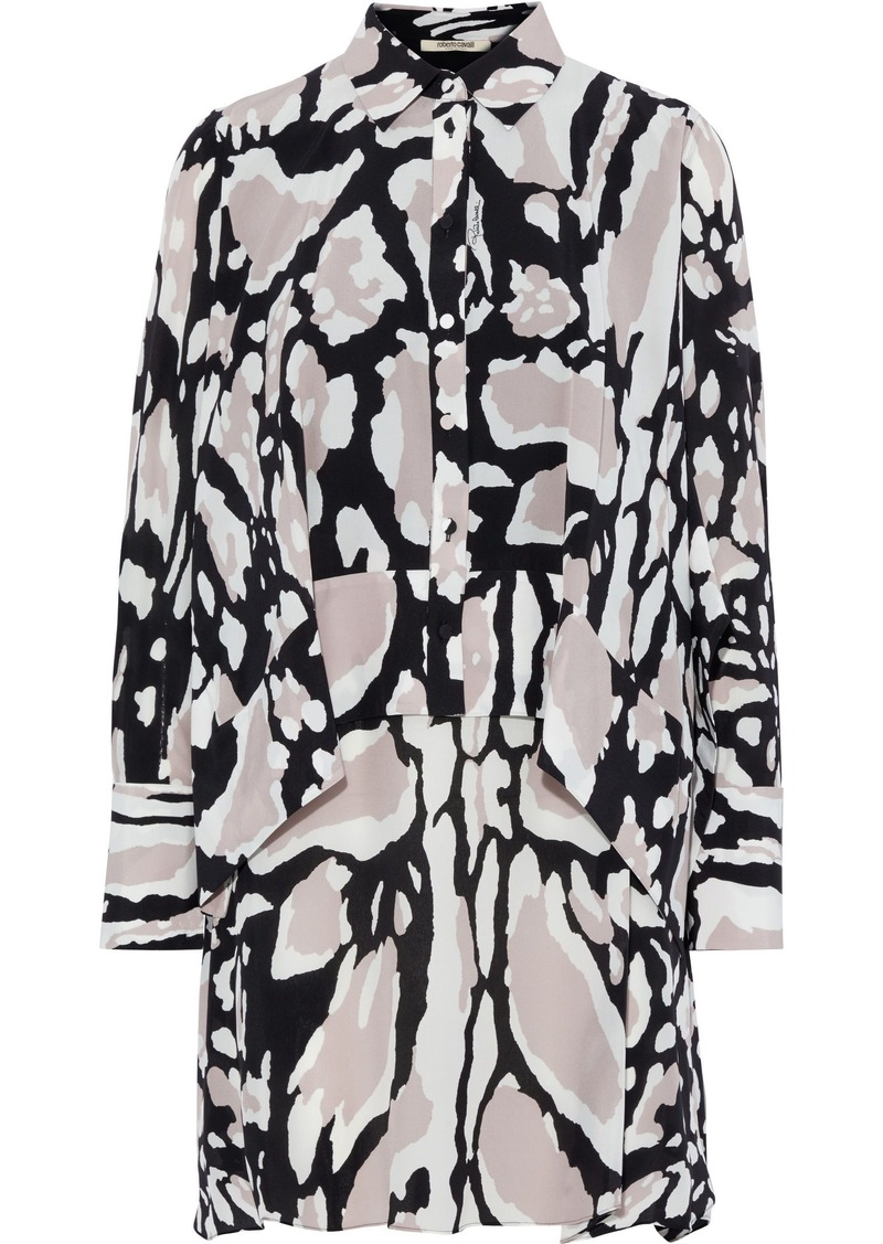 Roberto Cavalli Woman Layered Printed Silk Crepe De Chine Mini Shirt Dress Animal Print