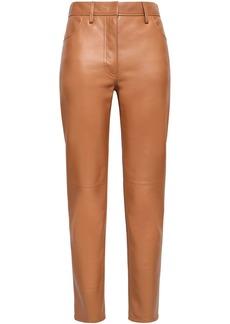 Roberto Cavalli Woman Leather Straight-leg Pants Camel
