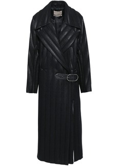 Roberto Cavalli Woman Leather-trimmed Quilted Coated Wool-blend Trench Coat Black