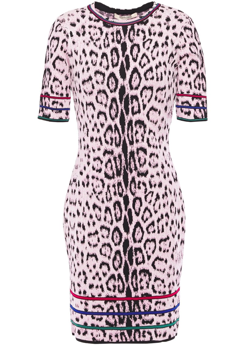 Roberto Cavalli Woman Leopard-jacquard Mini Dress Baby Pink
