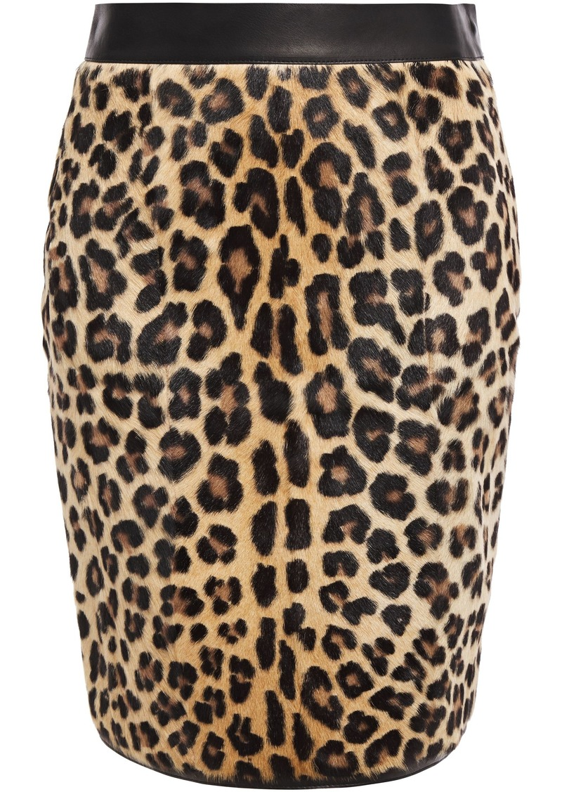 Roberto Cavalli Woman Leopard-print Calf-hair And Stretch-knit Pencil Skirt Animal Print