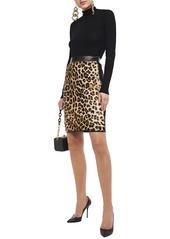 Roberto Cavalli Woman Leopard-print Calf-hair And Stretch-knit Pencil Skirt Animal Print