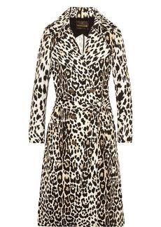 Roberto Cavalli Woman Leopard-print Cotton-twill Trench Coat Animal Print