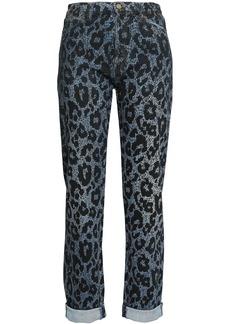 Roberto Cavalli Woman Leopard-print High-rise Slim-leg Jeans Dark Denim