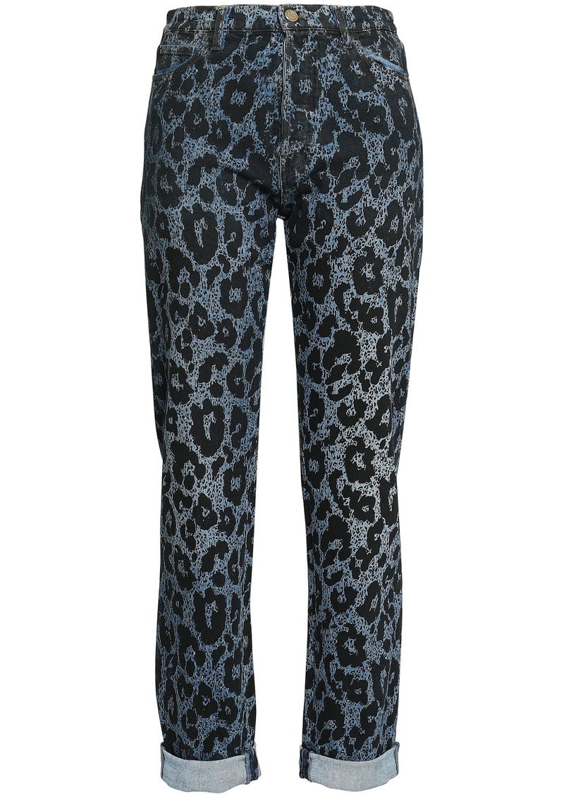 Roberto Cavalli Woman Leopard-print High-rise Slim-leg Jeans Dark Denim