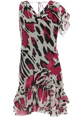 Roberto Cavalli Woman Leopard-print Silk-georgette Mini Dress Stone