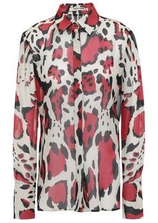 Roberto Cavalli Woman Leopard-print Silk-georgette Shirt Stone