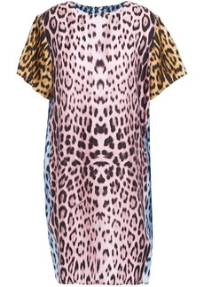 Roberto Cavalli Woman Leopard-print Silk-twill Mini Dress Animal Print