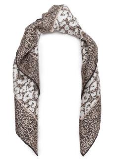 Roberto Cavalli Woman Leopard-print Silk-twill Scarf Beige