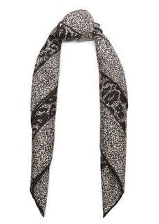 Roberto Cavalli Woman Leopard-print Silk-twill Scarf Black