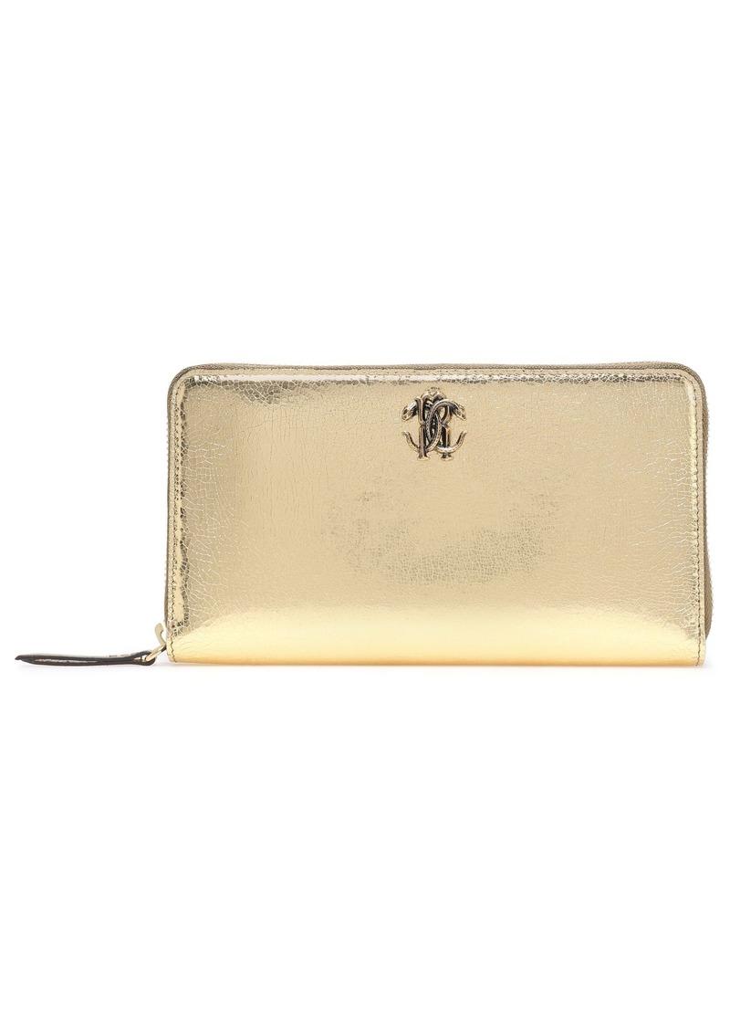 Roberto Cavalli Woman Logo-embellished Metallic Cracked-leather Continental Wallet Gold