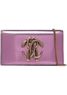 Roberto Cavalli Woman Logo-embellished Metallic Cracked-leather Shoulder Bag Violet