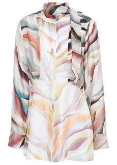 Roberto Cavalli Woman Tie-neck Printed Silk-twill Blouse Off-white