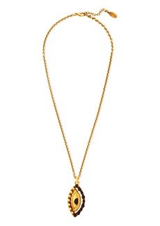 Roberto Cavalli Woman Lucky Coin Burnished Gold-tone Beaded Necklace Gold
