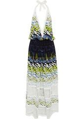 Roberto Cavalli Woman Corded Lace-paneled Printed Silk Halterneck Maxi Dress Multicolor