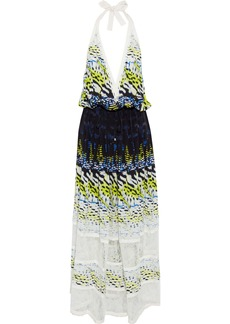 Roberto Cavalli Woman Corded Lace-paneled Printed Silk Halterneck Maxi Dress Multicolor