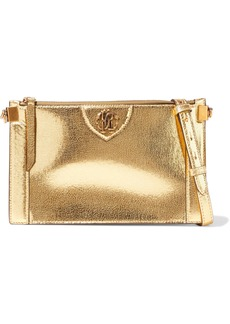 Roberto Cavalli Woman Metallic Cracked-leather Shoulder Bag Gold