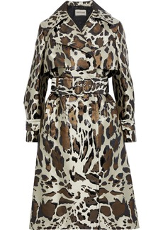 Roberto Cavalli Woman Metallic Leopard-jacquard Trench Coat Cream