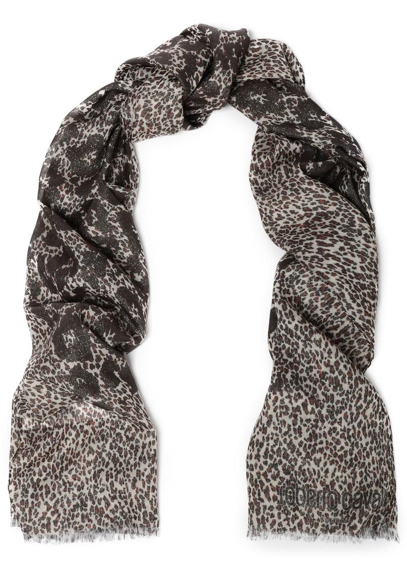 Roberto Cavalli Woman Metallic Leopard-print Modal-blend Scarf Ivory