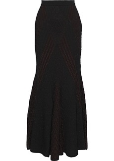 Roberto Cavalli Woman Metallic Pointelle-knit Maxi Dress Merlot