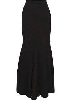Roberto Cavalli Woman Metallic Pointelle-knit Maxi Dress Merlot