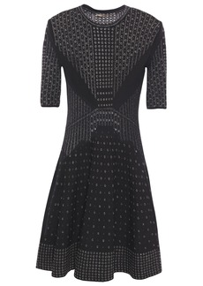 Roberto Cavalli Woman Metallic Pointelle-knit Mini Dress Black