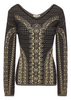 Roberto Cavalli Woman Metallic Pointelle And Jacquard-knit Sweater Black