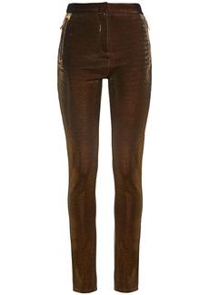 Roberto Cavalli Woman Metallic Ponte Skinny Pants Bronze